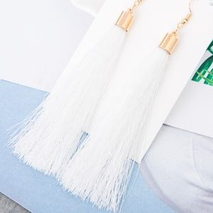 Long White Tassel Earrings with Gold Hardware
